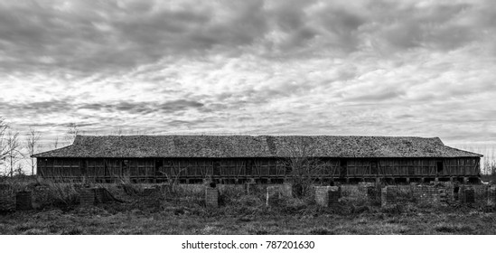 Old hay storage, black and white photography