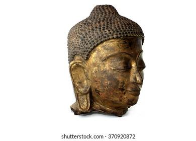 Old head buddha on white background
