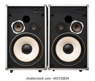 Old hi end speakers isolated on white. Clipping path included.