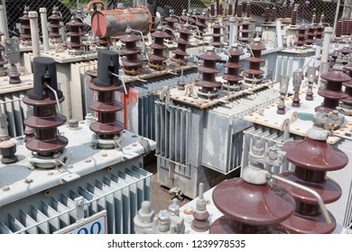 old high voltage transformer in warehouse