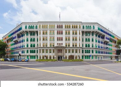 Old Hill Street Police Station historic building in Singapore. Neoclassical style building with colorful windows.