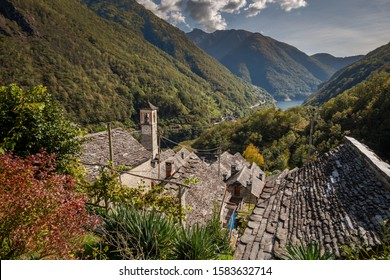 Old Hillside Village Corippo in the Valle Vesasca, Ticino, Switz