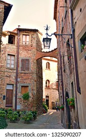 old historic alley in the medieval village of Anghiari in the city of Arezzo in Tuscany, Italy