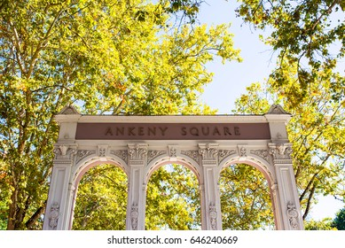 Old Historic Ankeny Square arch in the pearl district of Portland, oregon state, united states of america
