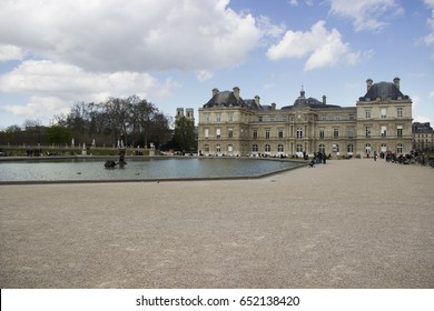 Old historic building inside the Luxembourg garden in Paris. Photo taken in march 2016, at Paris.