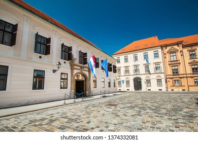Old historic buildings on St Mark's Square in Zagreb, center of Croatia, paved square, popular tourist destination