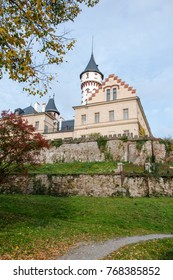 Old and historic castle Radun in the mirror of the pond, Northern Moravia, Czech Republic