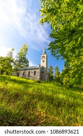 Old historic church in the green forest