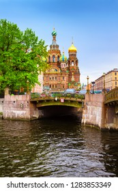 Old historic church of the Savior on Spilled Blood in Saint Petersburg. Russia. Old architecture, canal. bridges and landmark of St Petersburg