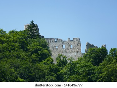 Old historic  city stone castle with ruined walls in the nature - Samobor city
