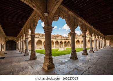 Old historic cloister in the  downtown of Salamanca. Plateresque XV century.  The old city of Salamanca was declared a UNESCO World Heritage site in 1988.