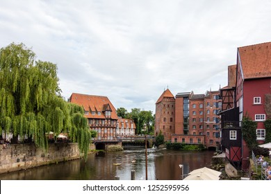 Old historic harbor of Luneburg with half-timbered houses an river  Schleswig-Holstein Germany
