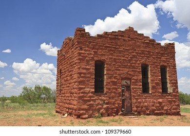 Old historic jailhouse in Texas, USA.