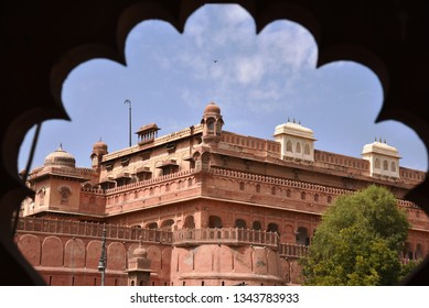 old and historic junagarh fort from the window (jharokha) with clouds