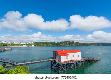Old historic lifeboat station and slipway at the coastal resort of Tenby, Pembrokeshire, Wales.