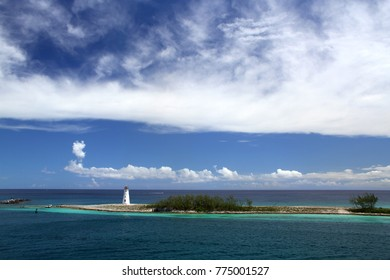 Old historic lighthouse at the tip of Paradise Island on the island of Nassau, Bahamas.