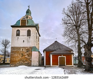 Old historic Porvoo, Finland. Medieval stone and brick Porvoo Cathedral at blue hour sunrise.