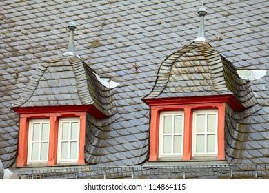Old historic roof  in small city Saarburg, Rheinland-Pfalz, Germany, evening, summer