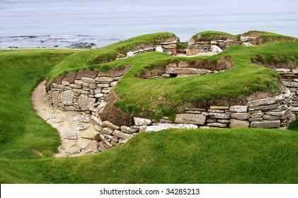 old historic settlement skara brae on orkney island