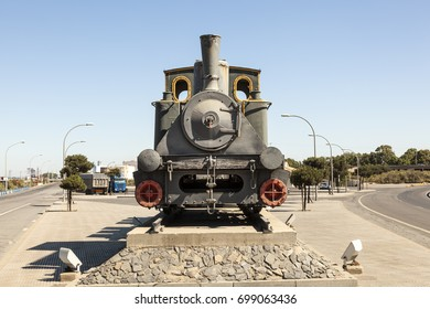 Old historic steam train in the port of Huelva, Spain