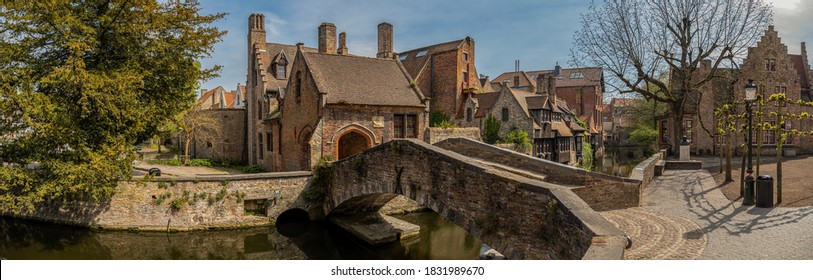 Old historical Bruges and canals Belgium
