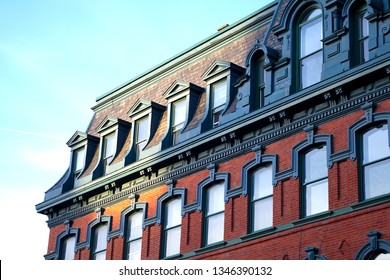 old historical building roof architecture ornement vintage red brick