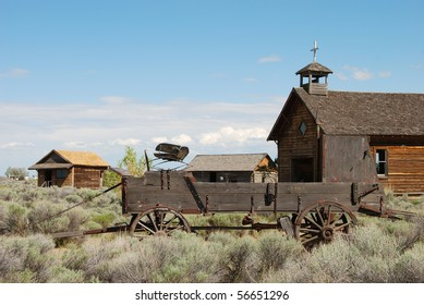 Old historical buildings in the small central Oregon high desert town of Fort Rock