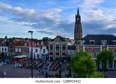 old historical city centre of Amersfoort. Old buildings. cloudy day. 16 july 2016 - Amersfoort - Utrecht - Netherlands