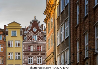 Old historical colorful building architecture facade of Old Town in Gdansk