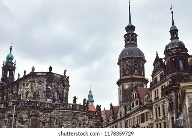 old historical Dresden Cathedral with statues on roof in Dresden, Germany