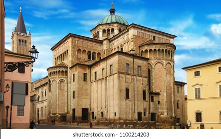 Old historical Duomo cathedral in Parma, Emilia-Romagna, Italy. Parma architecture and landmark. Cityscape.