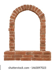 Old historical European medieval arch brick window isolated on white background for architectural design purpose