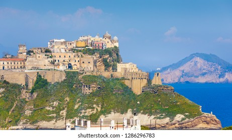 Old historical fortified center Terra Murata situated on highest point of island Procida, Naples, Italy.