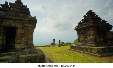 Old and historical remnants of artifacts in hinduism temple Candi Ijo  in Yogyakarta, Indonesia