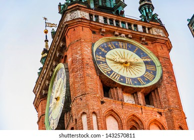 Old historical tower of city Main Hall in Gdansk