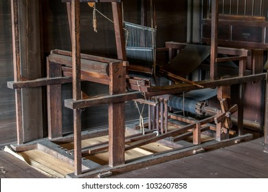 A old historical weaving loom in house, Japan countryside.