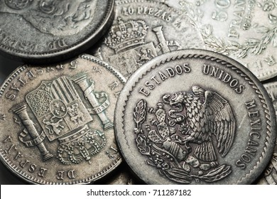 Old historically silver Coins from around the World in the Detail