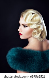 Old Hollywood, a girl with fur on her shoulders