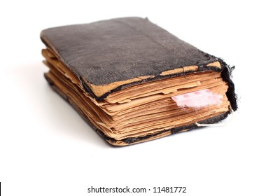 Old holy bible with pink ribbon