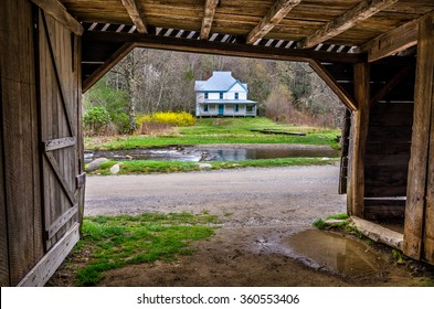 Old homestead and barn from the Cataloochee Valley in the Great Smoky Mountains