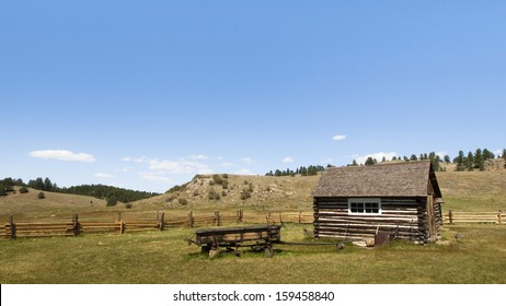 Old homestead buildings on Florissant National Monument in central Colorado.