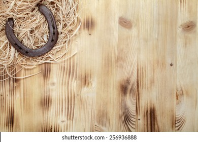 Old horseshoe on a wooden board
