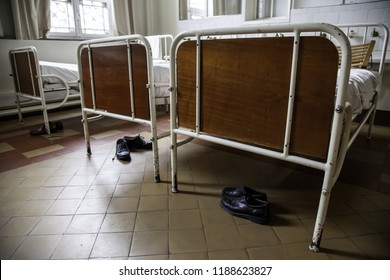 Old hospital beds, detail of old hospital for patients