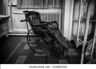 Old hospital wheelchair, chair detail for the disabled