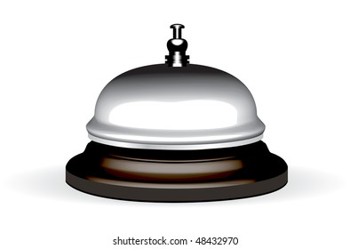 old hotel bell on a wood stand illustration