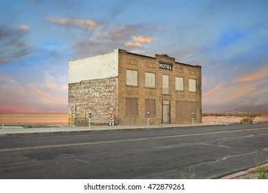 Old Hotel in Empty Desert