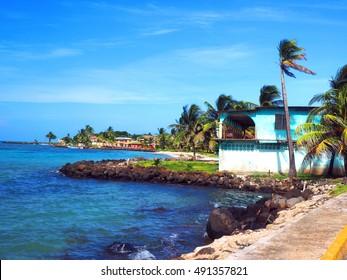 old hotel on Caribbean beach North End Big Corn Island Nicaragua Central America