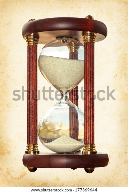 Old Hourglass Symbol Transience Time History Stock Photo
