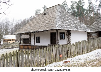 Old house at the Astra museum, the largest open air museum in Romania. Sibiu, Transylvania, Romania, Europe.