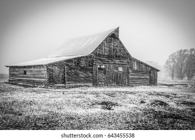 Old House and Barn Black and White